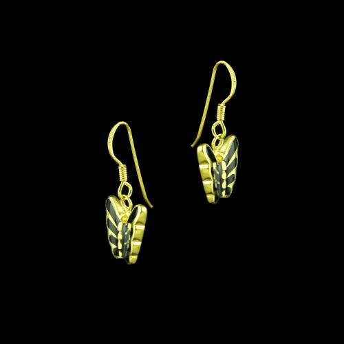 GOLD PLATED TWO TONE HANGING EARRINGS