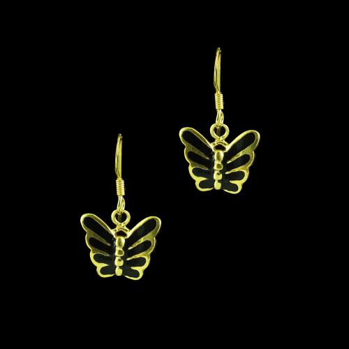 GOLD PLATED BUTTERFLY HANGING EARRINGS WITH BLACK SPINEL