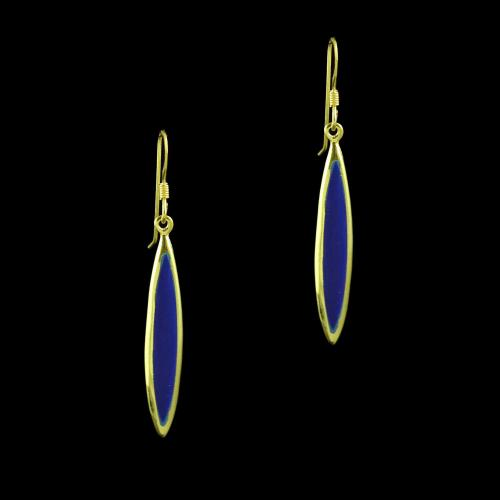 GOLD PLATED SAND STONE HANGING EARRINGS