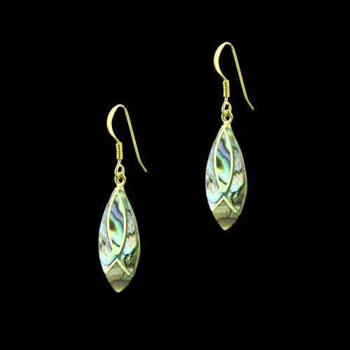 GOLD PLATED HANGING EARRINGS WITH TURQUOISE STONE
