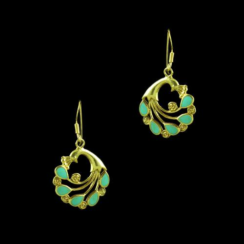 GOLD PLATED ABALONE HANGING EARRINGS