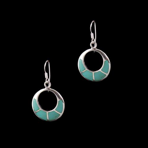 OXIDIZED SILVER HANGING EARRINGS WITH TURQUOISE