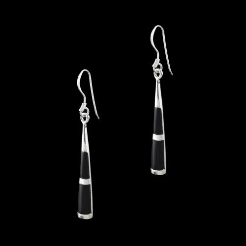 OXIDIZED SILVER SHELL HANGING EARRINGS