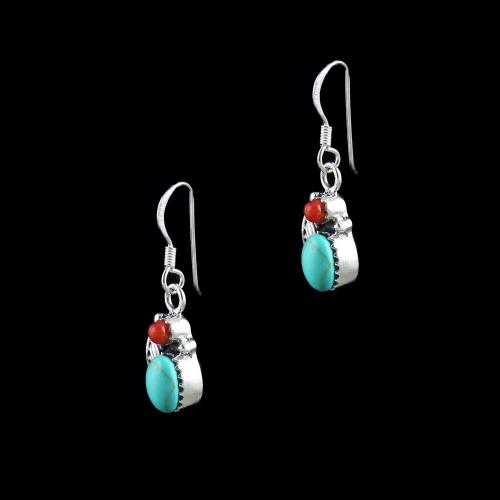 GOLD PLATED TURQUOISE WITH CORAL HANGING EARRINGS