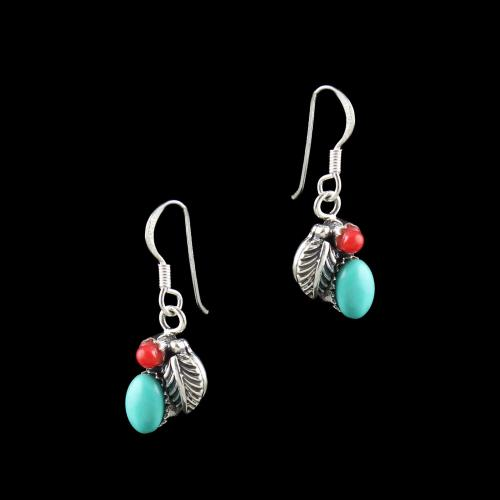 OXIDIZED SILVER HANGING EARRINGS WITH TURQUOISE AND CORAL