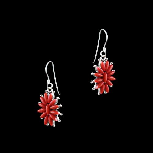 OXIDIZED SILVER CORAL HANGING EARRINGS