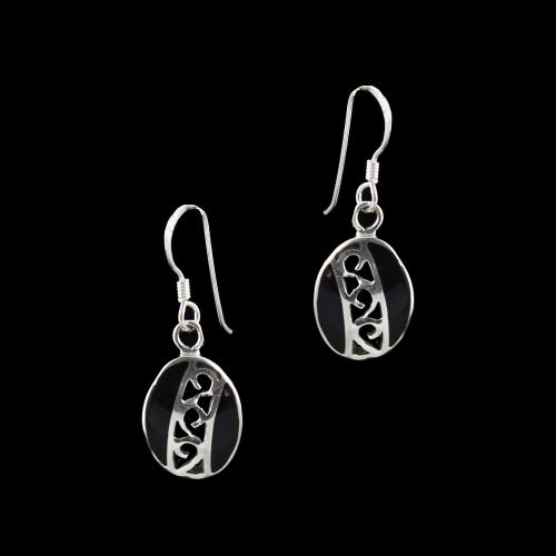GOLD PLATED HANGING EARRINGS WITH BLACK SPINEL