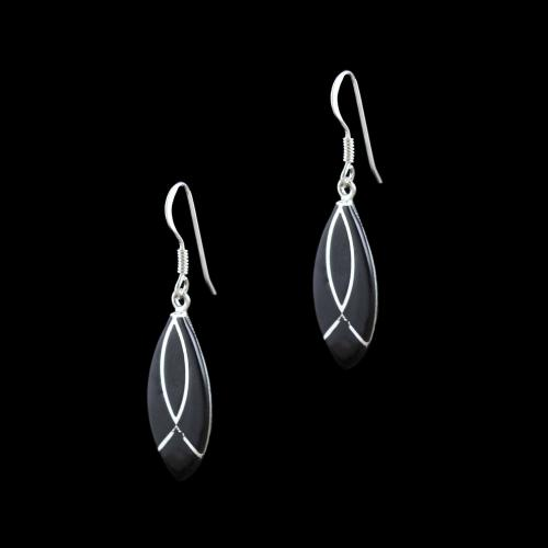 OXIDIZED SILVER BLACK SPINEL HANGING EARRINGS