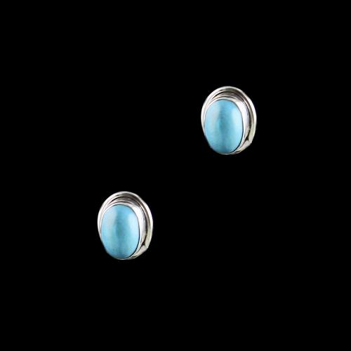 OXIDIZED SILVER TURQUOISE STONE EARRINGS