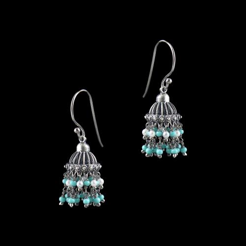 OXIDIZED SILVER JHUMKA WITH TURQUOISE WITH PEARL