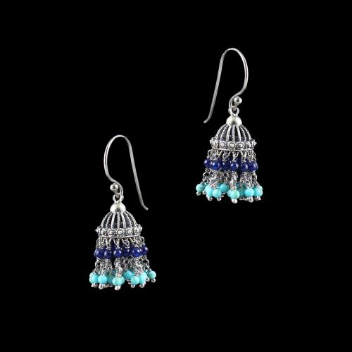 OXIDIZED SILVER JHUMKA WITH TURQUOISE