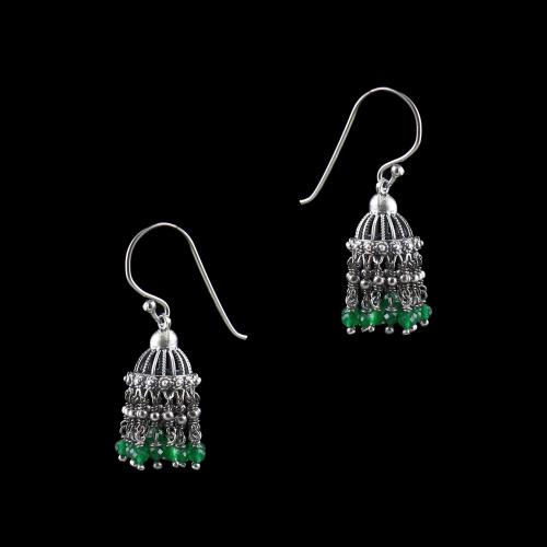 OXIDIZED SILVER JHUMKA WITH GREEN HYDRO