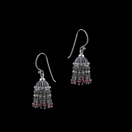 OXIDIZED SILVER JHUMKA WITH GARNET