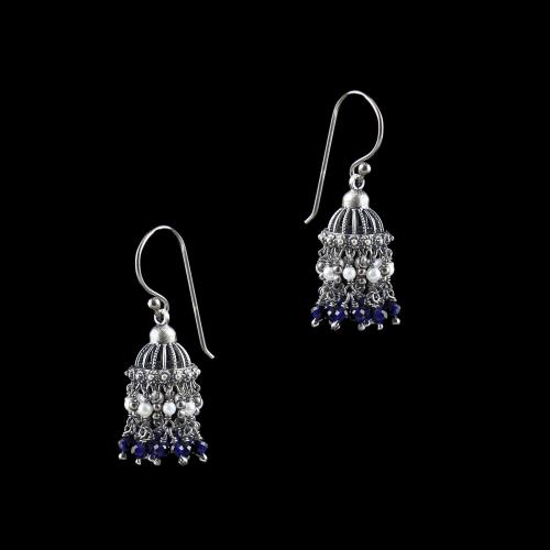 OXIDIZED SILVER JHUMKA WITH SAPPHIRE WITH PEARL
