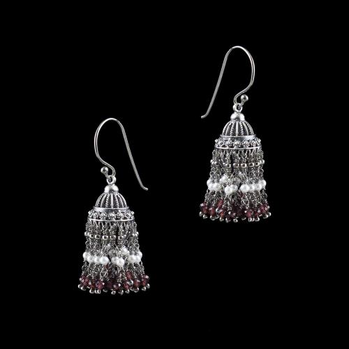OXIDIZED SILVER JHUMKA WITH GARNET AND PEARL