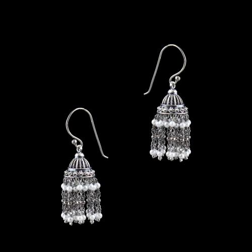OXIDIZED SILVER JHUMKAS EARRINGS WITH PEARL