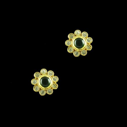 GOLD PLATED CZ AND EMERALD EARRINGS