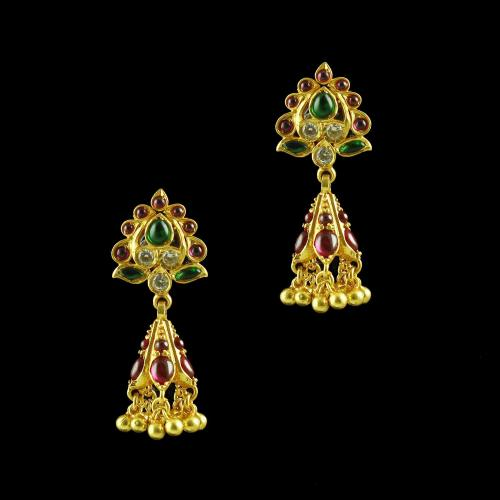 GOLD PLATED FLORAL EARRINGS WITH MULTI COLOR STONES