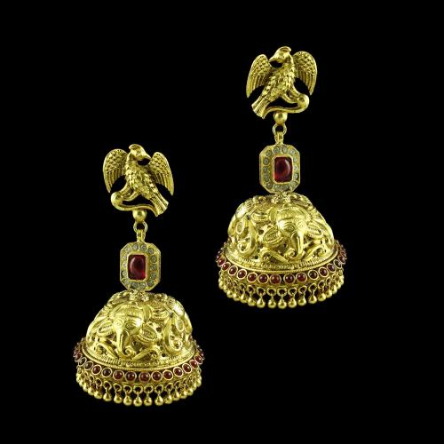 GOLD PLATED GANESHA JHUMKA EARRINGS