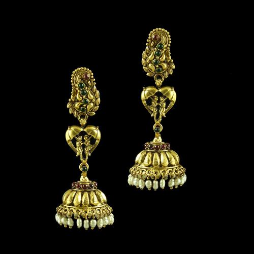 GOLD PLATED JHUMKA WITH MULTI COLOR STONES