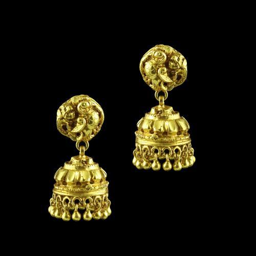 GOLD PLATED PEACOCK JHUMKA EARRINGS