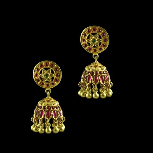 GOLD PLATED RUBY JHUMKA EARRINGS