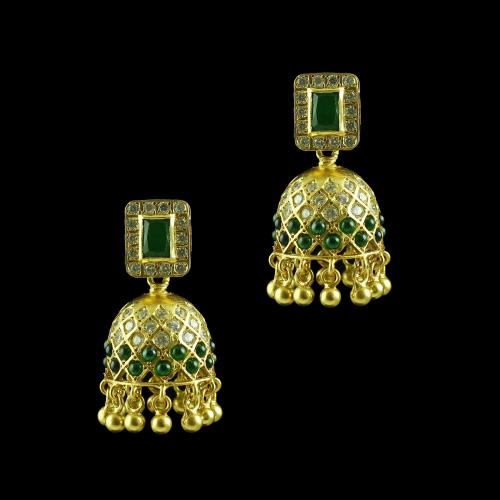 GOLD PLATED CZ AND GREEN ONYX JHUMKA EARRINGS