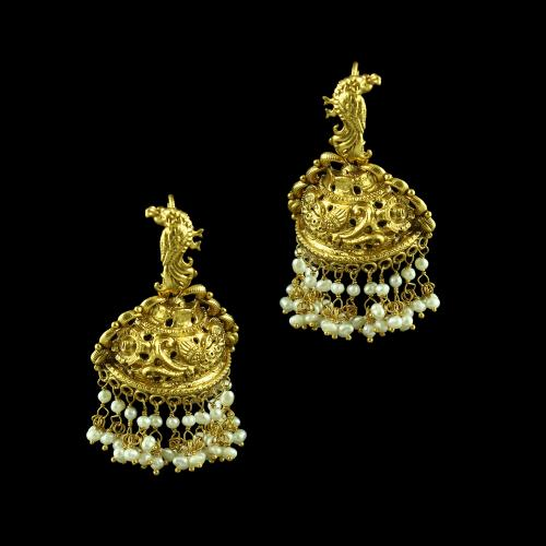 GOLD PLATED PEACOCK JHUMKA EARRINGS