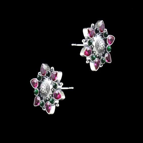 OXIDIZED SILVER RED AND GREEN CORUNDUM STONE FLORAL EARRINGS