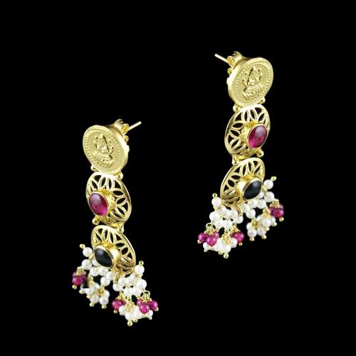 GOLD PLATED LAKSHMI AND RED AND GREEN ONYX WITH PEARL EARRINGS