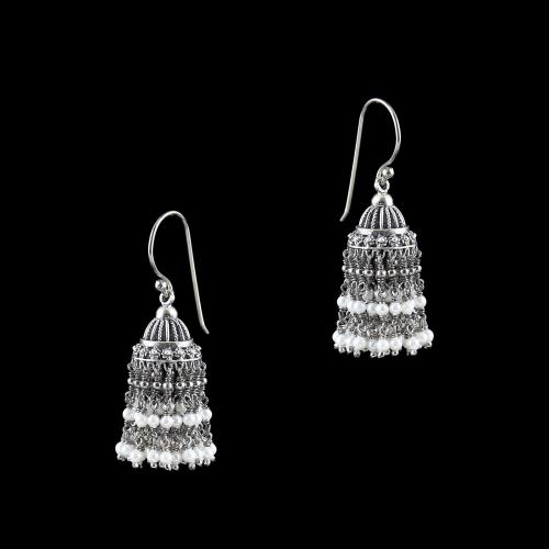 OXIDIZED SILVER JHUMKA WITH PEARLS