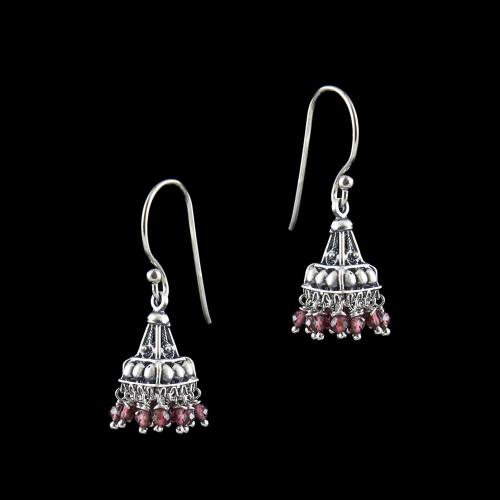 OXIDIZED SILVER JHUMKA WITH GREEN ONYX AND PEARLS