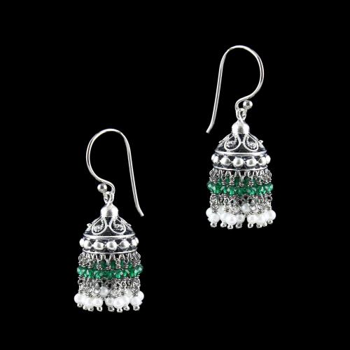 OXIDIZED SILVER JHUMKA WITH GREEN HYDRO AND PEARLS