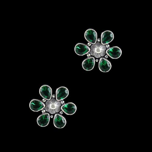 OXIDIZED SILVER WITH GREEN CORUNDUM FLORAL EARRINGS