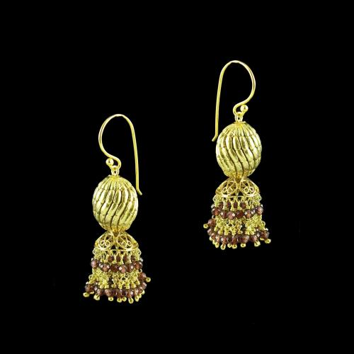 GOLD PLATED JHUMKA HANGING EARRINGS WITH GARNET