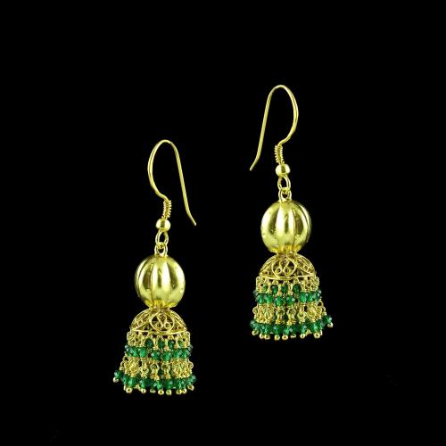 GOLD PLATED JHUMKA HANGING EARRINGS WITH GREEN HRDRO