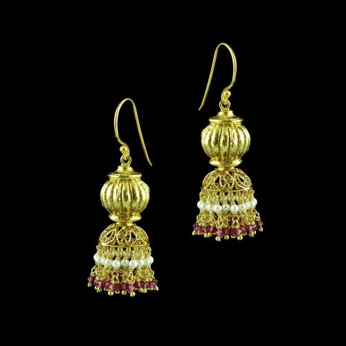 GOLD PLATED JHUMKA HANGING EARRINGS WITH PINK HYDRO AND PEARLS