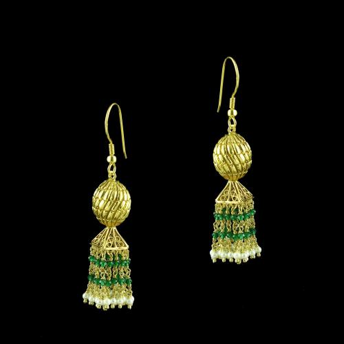 GOLD PLATED JHUMKA HANGING EARRINGS WITH GREEN HYDRO AND PEARLS