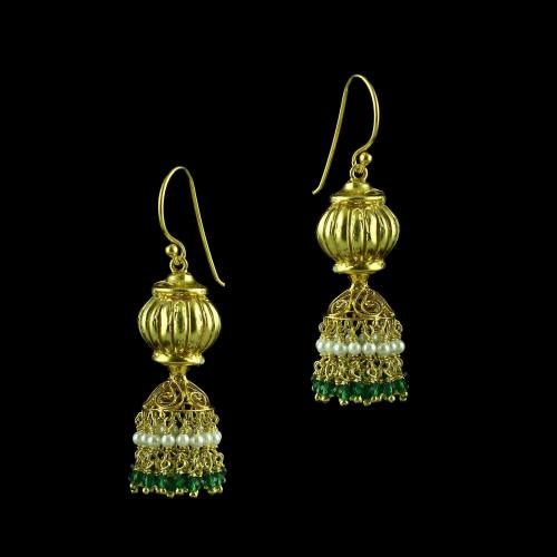 GOLD PLATED HANGING JHUMKA EARRING WITH GREEN HYDRO AND PEARLS