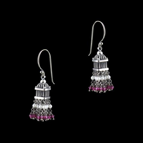 OXIDIZED SILVER HANGING JHUMKA EARRING WITH PINK HYDRO AND PEARLS