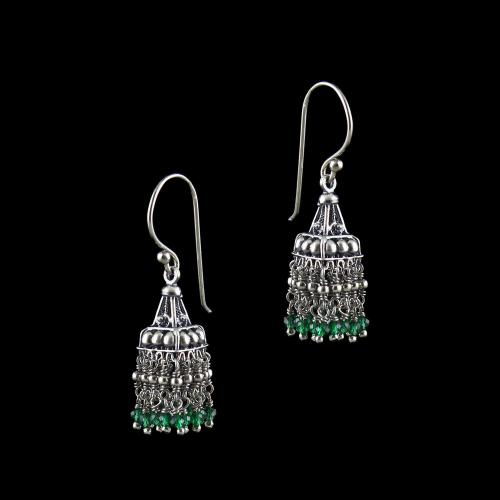 OXIDIZED SILVER HANGING JHUMKA EARRING WITH GREEN HYDRO STONES