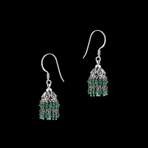 OXIDIZED SILVER HANGING JHUMKA EARRING WITH PEARLS