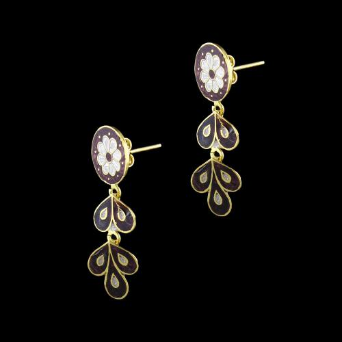 GOLD PLATED ENAMEL FLORAL DESIGN EARRINGS
