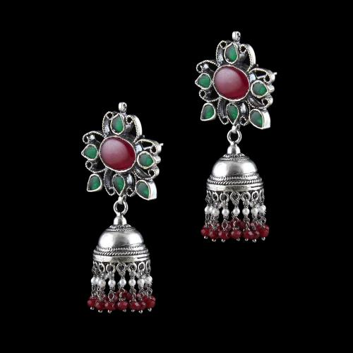 Corundum Stone Jhumka With Rice Pearl