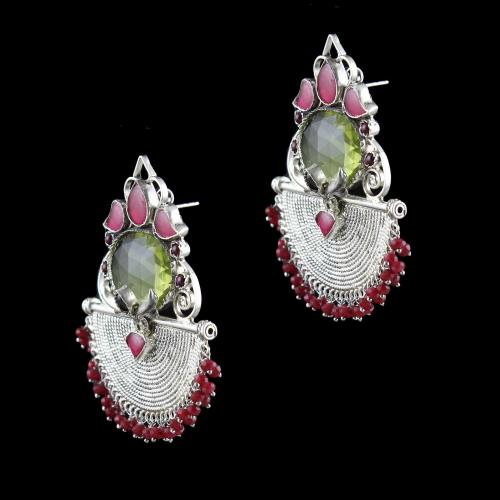 OXIDIZED SILVER EARRINGS WITH RED CORUNDUM AND GARNET