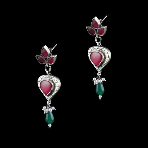 OXIDIZED SILVER RED ONYX EARRINGS WITH JADE AND PEARLS