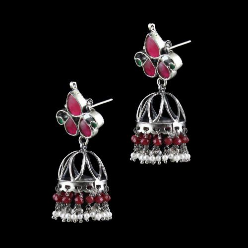 OXIDIZED SILVER KUNDAN JHUMKA EARRINGS STUDDED RED CORUNDUM AND PEARL BEADS