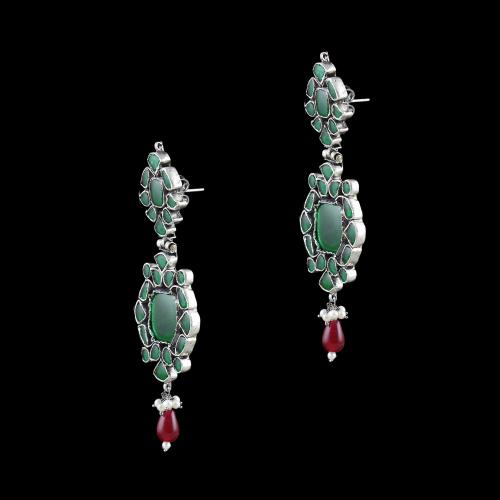 OXIDIZED SILVER KUNDAN STONES DROP EARRINGS WITH RUBY AND PEARLS