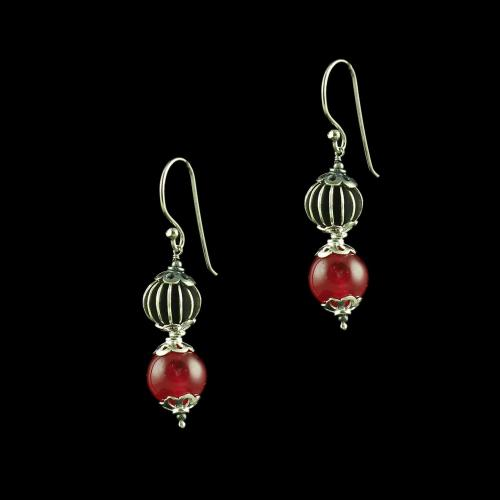 OXIDIZED SILVER HANGING EARRINGS WITH RED ONYX STONE