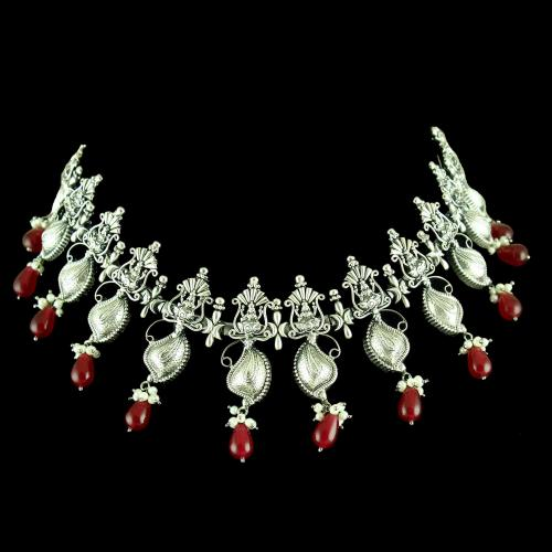 OXIDIZED SILVER RED ONYX NECKLACE WITH PEARLS